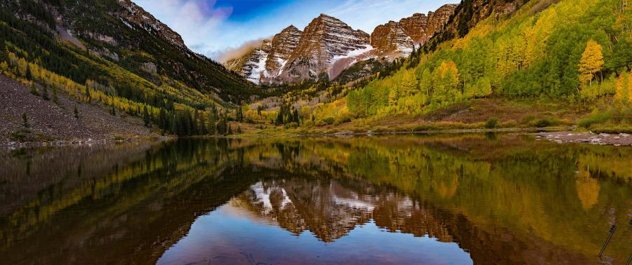 Maroon Bells Pano : Colorado : JOHN MURK PHOTOGRAPHY